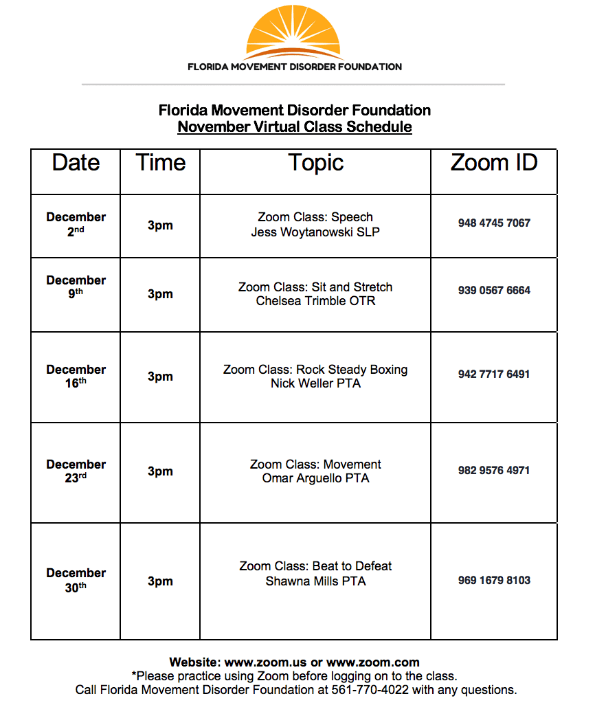 Virtual Class Schedule - December 2020